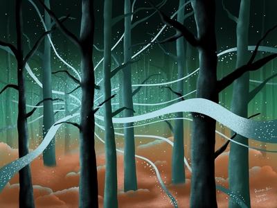 Magical Forest 2 art ipadproart ipadpro ipad procreate landscape paint illustrator minimal illustration