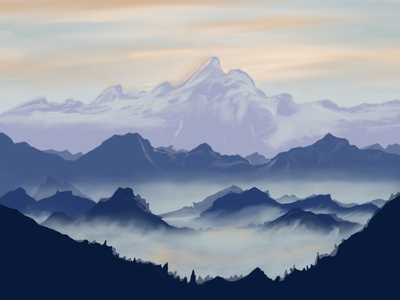 Mist paintings landscape ipad procreate paint vector minimal illustrator illustration