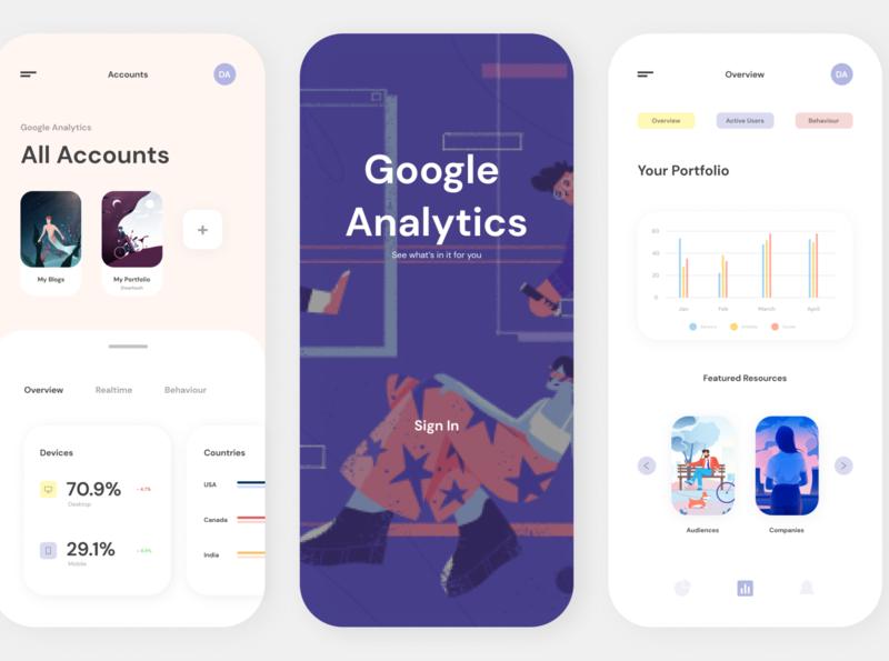 Google Analytics App website web ux ui app branding design minimal illustration illustrator