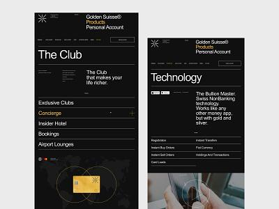 Golden Suisse - внутренние страницы ux ui digital adaptive adaptive design black corporate website webdesign web