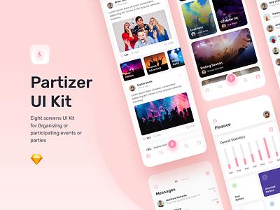 Partizer – Mobile UI Kit app ux design vector