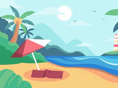 Nature Scene Vector Illustration - Summer illustration vector
