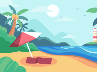 Nature Scene Vector Illustration - Summer illustration vector