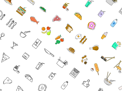 50 Food and Beverage Icons icon set icon design vector
