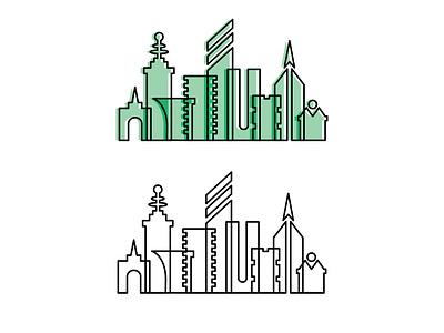 5 City Outline Illustrations illustration design vector