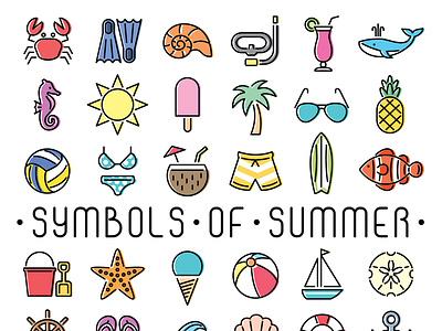 36 Symbols of Summer icon set icon illustration vector
