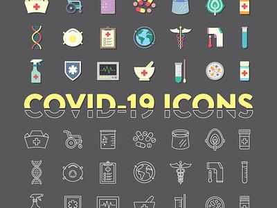 21 COVID-19 Icons design ux web ui icon set icon illustration vector