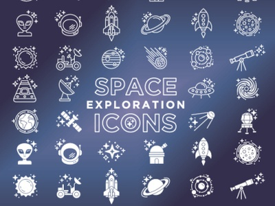 44 Space Exploration Icons icon ui ux design vector icon set icons