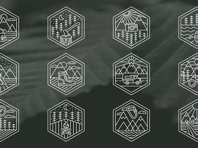 12 Nature Badges icons icon set icon ui design web ui ux illustration design vector