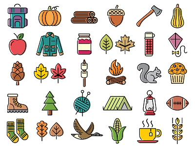 36 Symbols of Fall ui design web ui ux illustration design vector