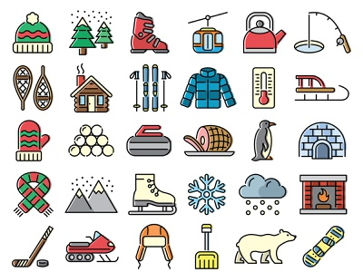 36 Symbols of Winter web ui ux illustration design vector