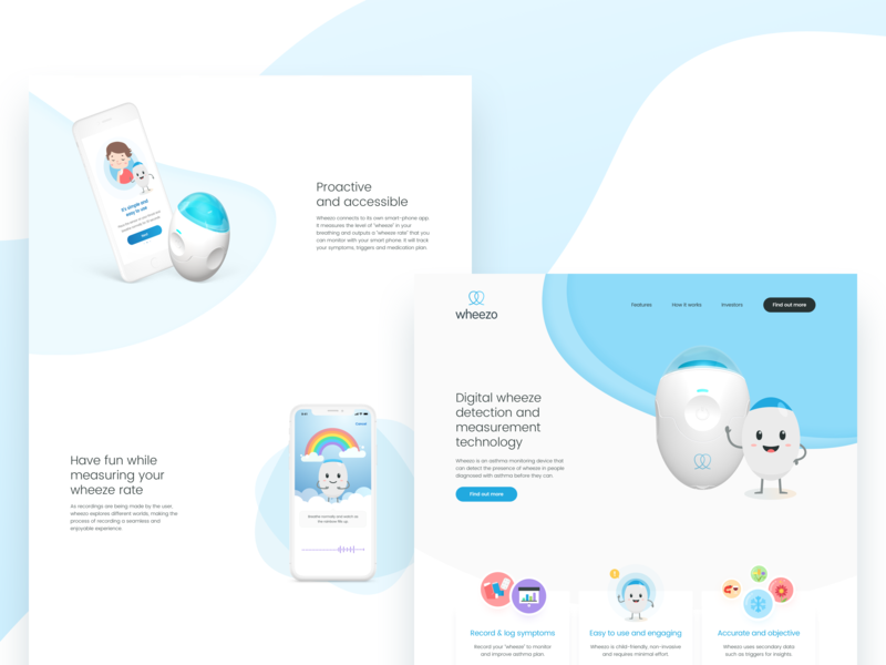 wheezo - website layout concept vector illustration website minimal icon typography web design ui