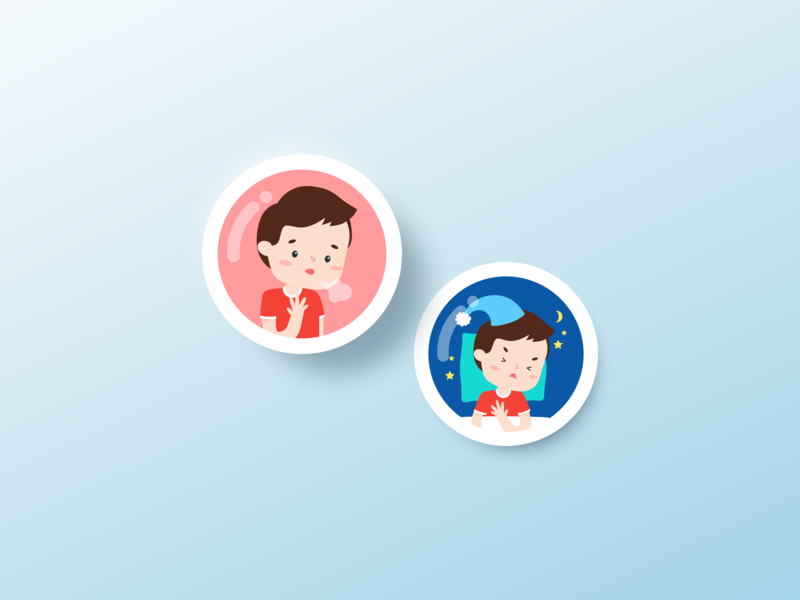 wheezo - symptom buttons icon app design vector illustration ui