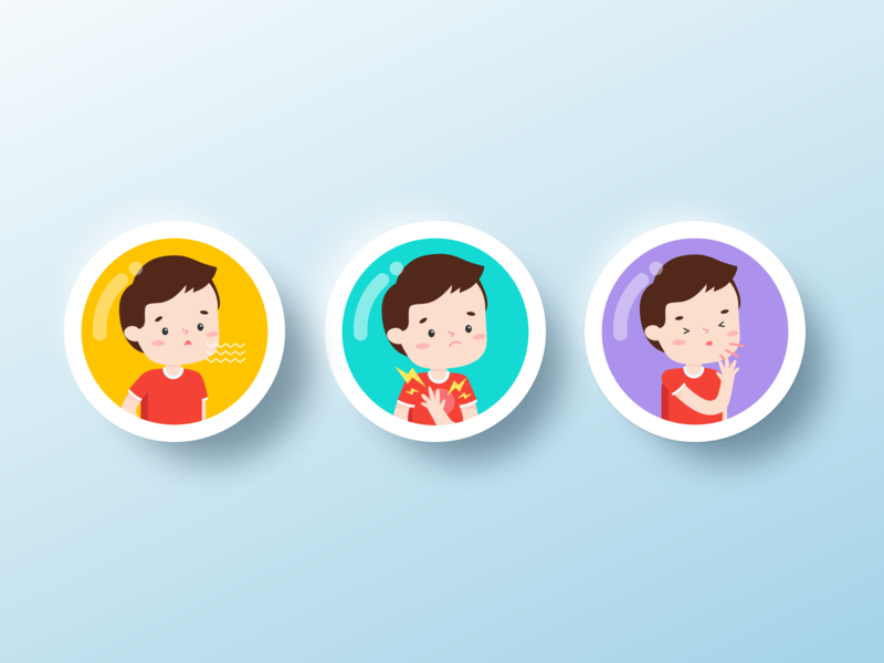 wheezo - symptom buttons 2 app design vector illustration icon ui