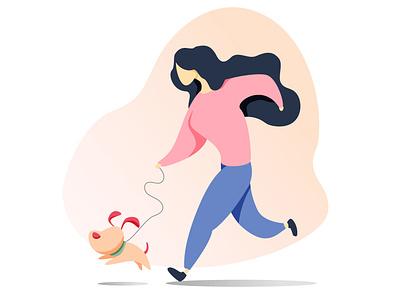 Morning walk with your pet- My 1st illustration ever! run walking dog graphic design illustrator flat ux vector design logo ui illustration