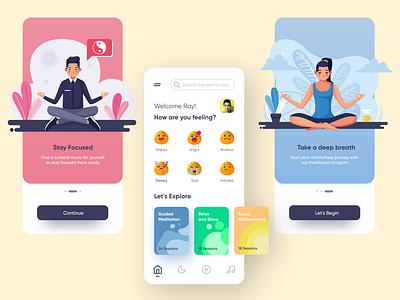 Meditation App vector illustrator ios app design interface app branding ios app designer yoga yoga app meditation icon app design typography design adobexd illustration ux ui