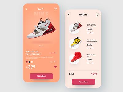 Nike shoes app illustration design branding typography interface sports orange adobe xd shoes app app design uxdesign ui  ux uidesign ios app ios nike shoes nike