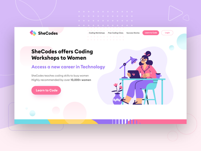 SheCodes Website Re-design interface code colors vector typography ux app design ui illustration website design website webdesign design
