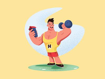 Gym Bodybuilder Illustration colors texture grain flat fitness gym vector illustration illustrator web ios logo vector design illustration