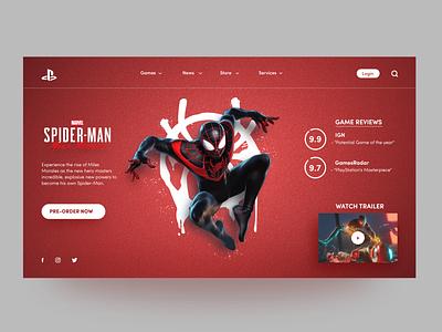 Playstation 5 - Spiderman Miles Morales graphic design ux ui game design game interface design app design vector branding web design website design web illustration playstation5 playstation spiderman ps5