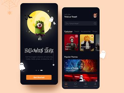 Halloween Store app concept dark theme halloween design design flat logo app adobexd vector typography ios ux halloween ui