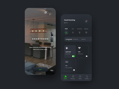 UI design - Smart Home App modern minimal interface icon figma design typography ui ux dark mode dark ui ios design ios app design smarthome
