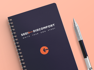 Branding - Seek Discomfort Notebook Mockup figmadesign colorful diary notebook cover ios typography design minimalist logo logo mockup branding brand design