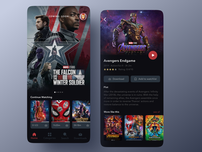 Marvel TV streaming app netflix movie app marvel studios tv show movie streaming app dark theme darkui branding ios design interface ui ux marvel app