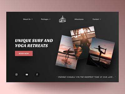 Website Redesign tourism camping adventure dark theme dark mode dark ui meditation surfing yoga travel minimal web interface ui ux design