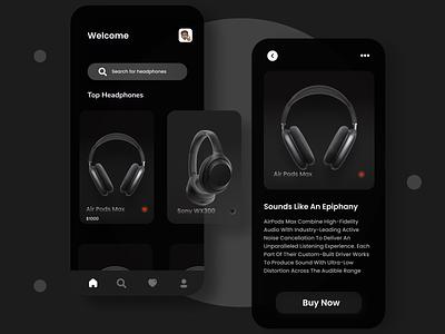 Headphones app design app ui web user experience uiux design uidesigner appdesigner appux appui appdesign uxdesign ux ui uidesign branding design ecommerce app ecommerce design branding