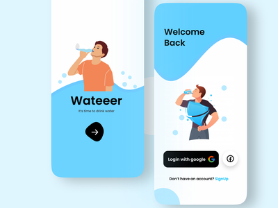 Water remainder app ui uiux ui app uiux app ui app design log in login signin sign in signup sign up register