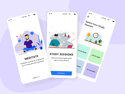 Meditate and study sessions uiux uidesign uxdesign branding ui userexperience meditation typography ux app ui concept design appdesign app mobileapp study meditate
