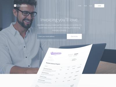 GladBills Landing Page landingpage invoicing invoice invite photo
