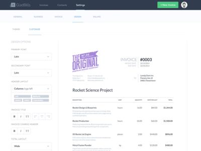 Invoice Design Customization theme editor design tool