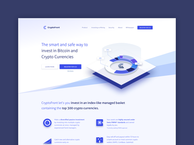 CryptoFront Landing financial app crypto exchange crypto landing page