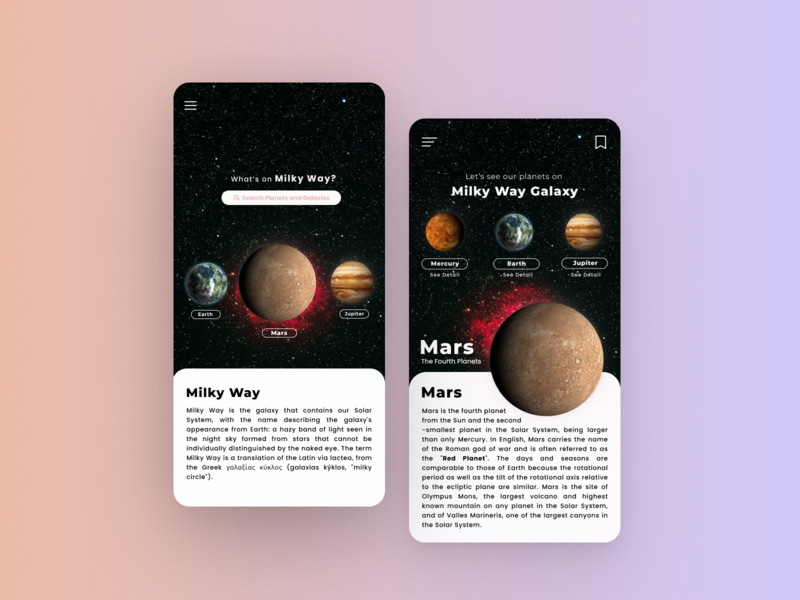 Space App Design - Milky Way