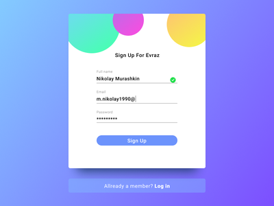Sing up form web landing page landing ux ui design