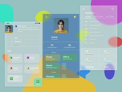 To do mobile app glassmorphism minimal app ux ui design web