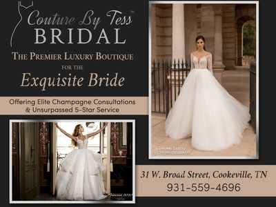 Couture By Tess Bridal 2-Page Print Ad branding editorial design print design magazine design typography design