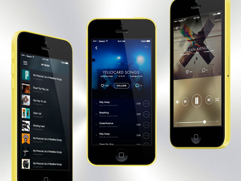 Player for iPhone. Free Sketch Mockup free sketch mockup ui spotify player music