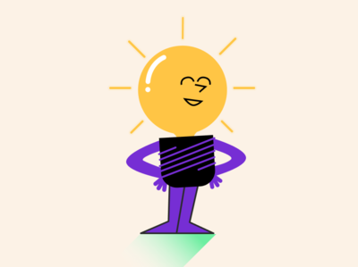 Lighting flat design character illustraion