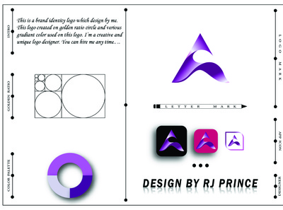 'A' Letter Mark Logo Design (design by rj prince) logo branding icon design