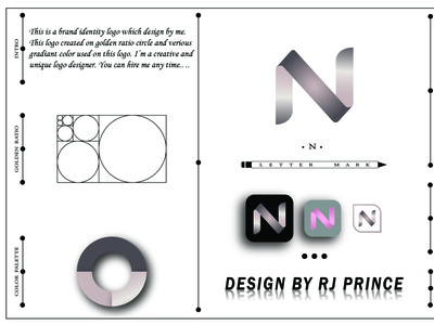 'N' Letter Mark Logo (design by rj prince) typography logo icon