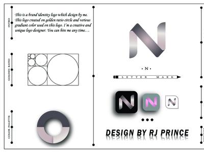 'N' Letter Mark Logo (design by rj prince) typography logo icon