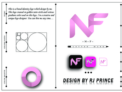 'NF' Letter Mark Logo (design by rj prince) typography logo icon