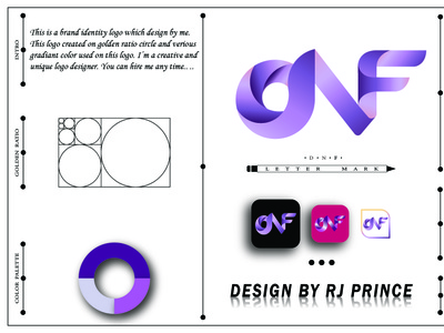 'DNF' Letter Mark Logo (design by rj prince) logo typography icon