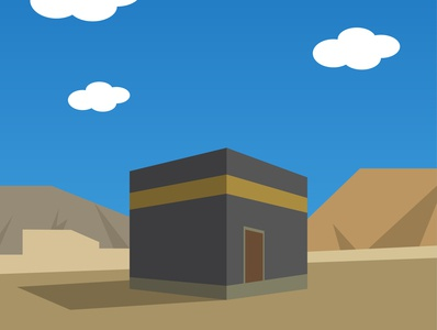 Kaaba flat design wallpaper adobe illustrator illustration