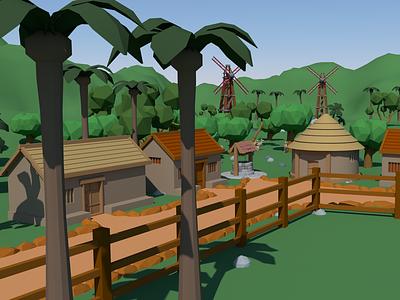 Low Poly Village | Autodesk Maya 3d design exterior low poly lowpolyart vray autodesk maya 3d modeling 3d art