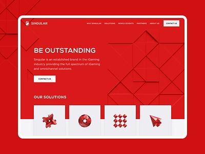 Singular - iGaming company gambling interface 3d design ux uiux ui red gaming