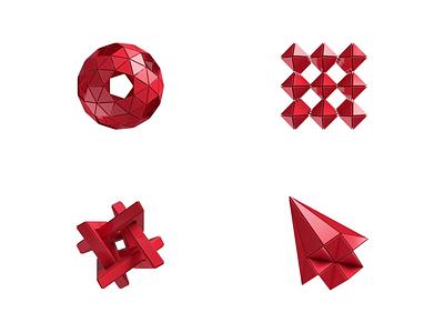 Singular 3D flat animated visual animation web gaming illustration ui 3d red gambling design